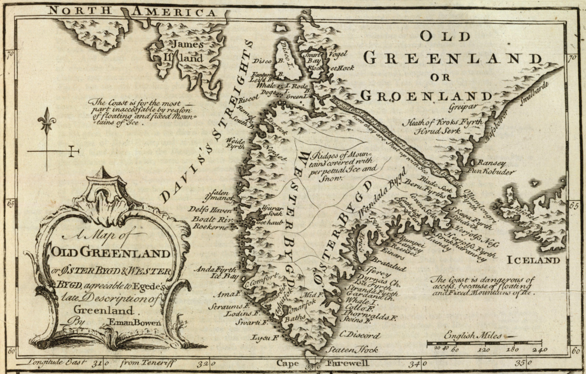 A 1747 map of Greenland, including many geographical errors common to the time.
