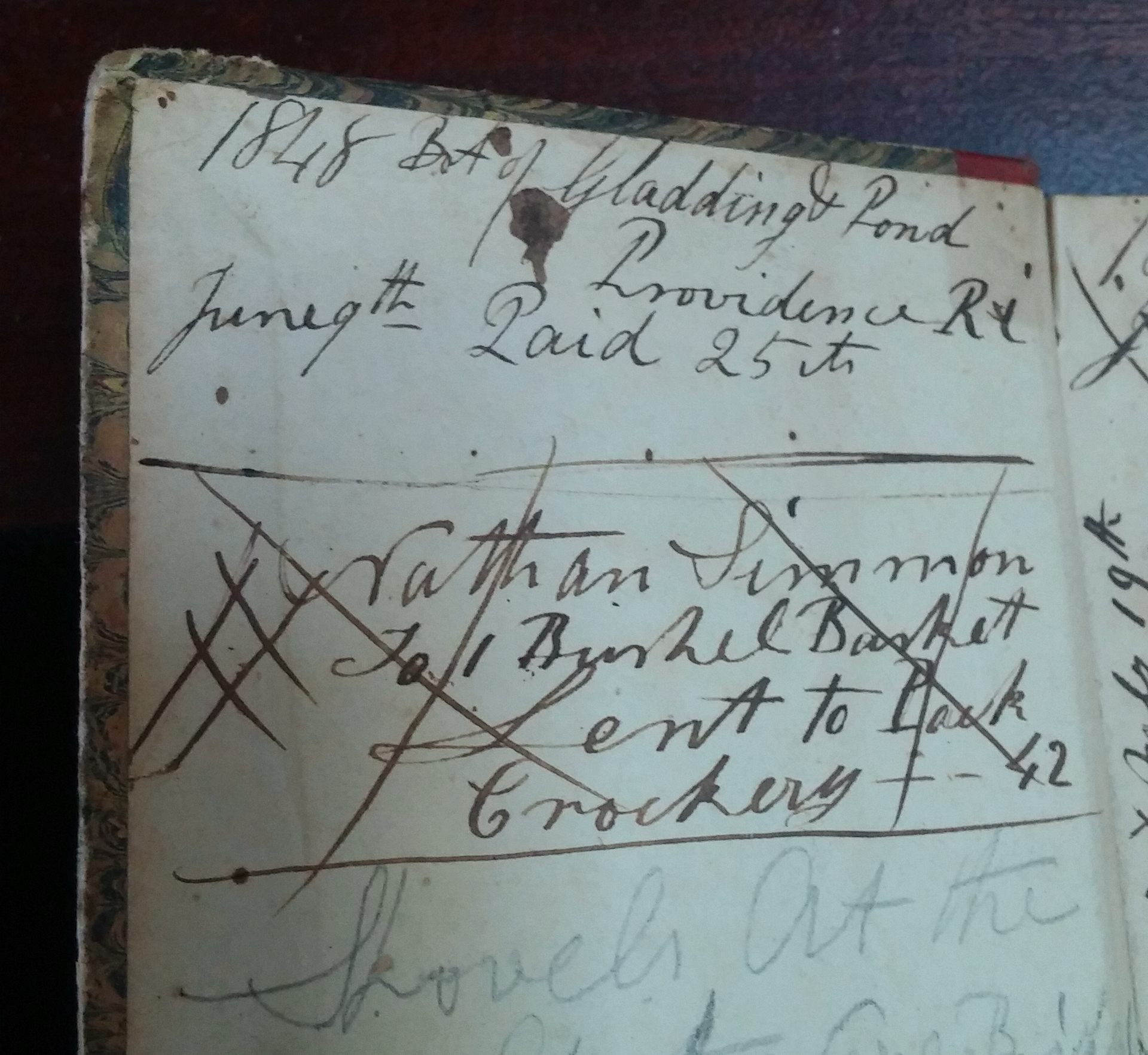 1848 Ledger of Accounts - Gladding and Pond, Providence RI.  I have a Nathan Simmons in my tree - but I have nothing to connect these two names.