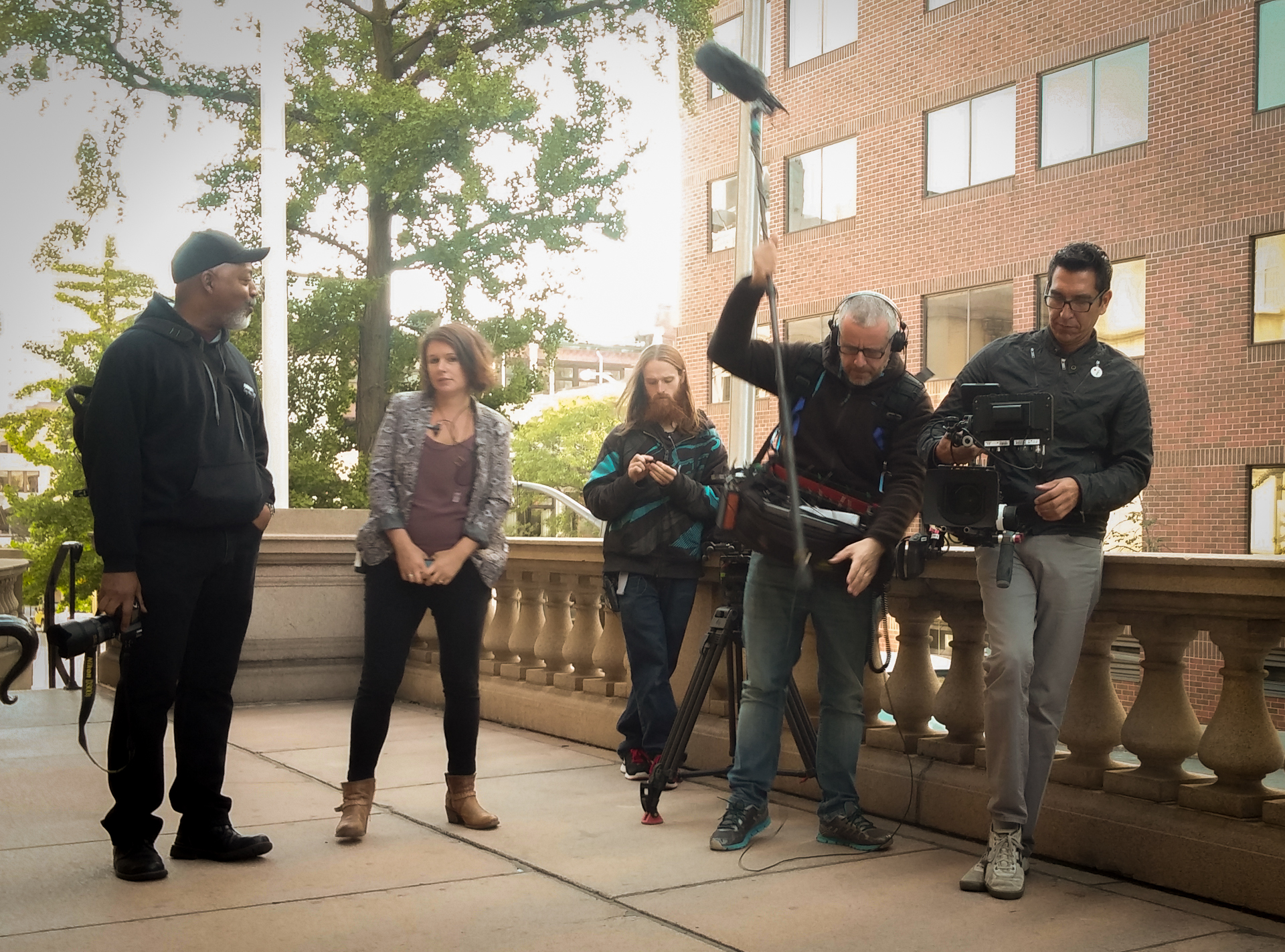 The camera crew that was filming all of the pick up shots.  Left to right was the Still Photographer, a Producer, Production Assistant, Sound Guy, and Cameraman (and for those interested they were filming with a Canon C300)